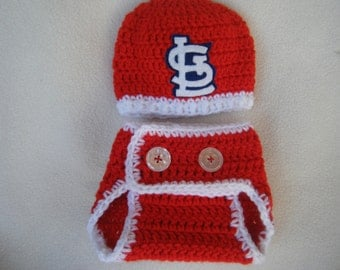Crocheted Cardinals Inspired Baseball Beanie/Hat and Diaper Cover - MADE TO ORDER - Handmade by Me