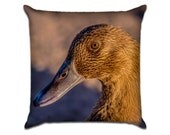 """Brown Duck - Original Photo Sofa Throw Pillow Envelope Cover for 18"""" inserts"""
