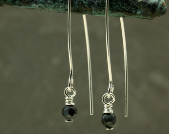 Faceted Hematite Open Hoop Earrings, Sterling Silver, Hematite Earrings, Black Earrings