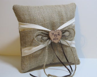 Personalized Rustic Ring Bearer Pillow With Ivory & Burlap Sash For Your Country Wedding
