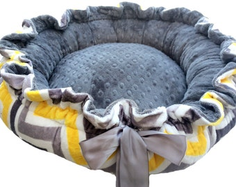 Chevron Gray, Yellow and White Minky Couture Pet Bed