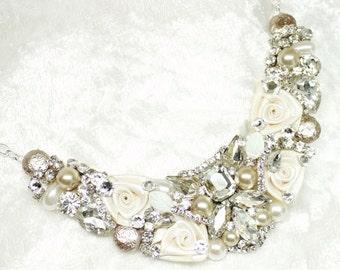 Art Deco Statement Necklace- Rhinestone Necklace-Great Gatsby Necklace-Champagne Statement Necklace-Rhinestone and Pearl Bib-Bridal Necklace