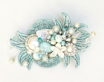 Aqua Hair Comb- Mint Blue-Seafoam blue Bridal Clip- Sea Blue Wedding Hairpiece- Aqua Accessories- Floral Hair Accessories