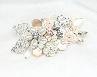 Blush Floral Sash Pin- Soft Pink Brooch- Blush floral brooch- Sash Brooch- Pin for sash- Soft Pink Bridal Brooch- Blush Fantasy Sash Pin