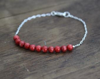 Red Coral Stacking Bracelet