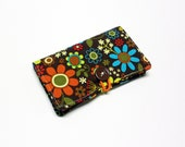 Multi Color Floral Fabric Business Card Holder, with Bright Circles on Brown - Credit Card Holder, Cloth Card Holder, Gift Card Holder