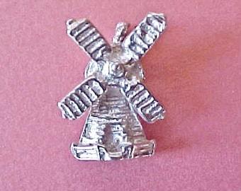 Cute Little Vintage Sterling Silver Dutch Windmill Charm