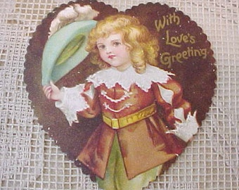 Adorable Little Heart Shaped Valentine Card with Little Lord Fauntleroy Type Boy