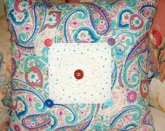 Colorful Vibrant Handmade Pillow ~ Paisley & Polka-Dots ~ Buttons*Lace ~ Cottage Chic ~ Boho Hippie ~ Porch Pillow