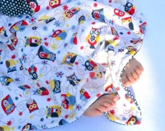 Owl Blanket - Minky Blanket - Owl Throw Blanket - Red Yellow Blue - Children Gift - Boy Blanket - Owl Gift - Kids Bedding - Kids Gift -