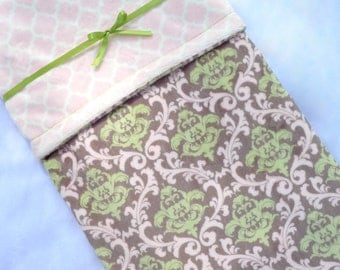 Minky Baby Blanket - Pink and Green Baby Blanket - Baby Blanket - Damask Baby Blanket - Baby Gift - Baby Blanket Girl - Baby Shower Gift