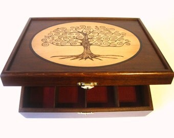 Tree of Life Tea Box or Watch Box: 12 spaces for organizing tea, watches, dice or jewelry; Wedding, Anniversary, Birthday, Graduation gift