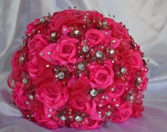 Wedding bouquet - Pink Rose Delight - w/ sparkly rhinestones and crystals - ready to ship!
