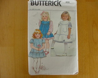 Vintage 1990s UNCUT Butterick Pattern 4830, Toddler Pinafore and Dress, Toddler Size 1-2-3-4