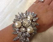 large Vintage inspired crystaland pearl wrist corsage