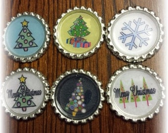 Christmas Trees and Snow Flakes Bottle Caps- set of 6