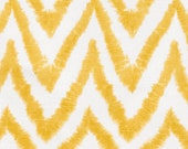 """TWO Curtain Panels, 25"""" x 96"""" - Chevron, Yellow, and White stripes, Unique Look, Mustard hue"""