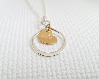 Infinity Necklace. Heart Necklace. Sterling Silver. Gold Filled. Hand Stamped. Initial Heart. Infinity Love Necklace. Personalized Necklace.