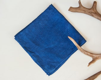 Organic Indigo Hand Dyed Satin Batiste Handkerchief