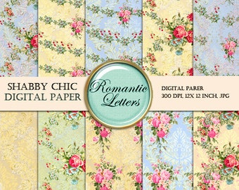 Floral Digital Scrapbook Paper Pack Floral Shabby Chic ROSE flower digital background paper floral Shabby Chic digital paper pack background