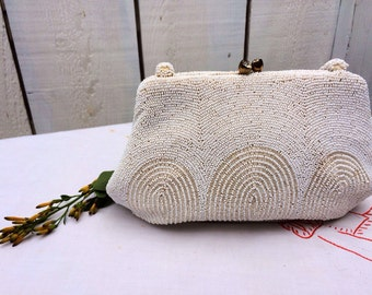 Vintage White Beaded Bag Wedding