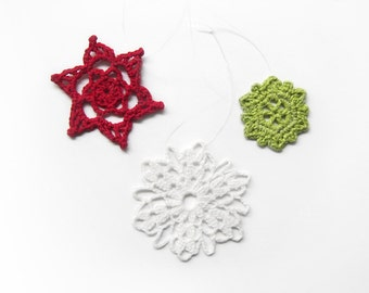 Lace Snowflake Ornaments, Set of 3 - Teacher Gift - Red White Lime Green - Crochet Holiday Winter Decor Elegant Modern
