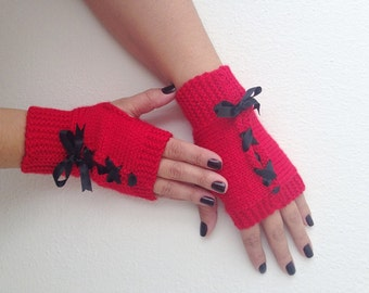 Christmas gift Red and black bow Fingerless Gloves,Wool Mittens,Arm Warmers ribbon,Hand Knitted, Eco Friendly ,Winter Accessories