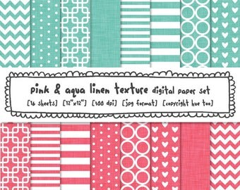 aqua blue pink digital papers, chevron zig zag polka dot, stripe quatrefoil trellis instant download baby girl boy nursery patterns - 583