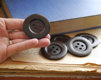 5 pcs LARGE Dark Brown Wood Buttons 5cm 2 inch 4 Hole (WB987)