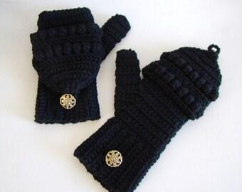 Black Convertible Fingerless Mittens, Crochet Glittens, Winter Fashion, Texting Mittens, Flip Top Mittens, Black Gloves, Black Ski Mittens
