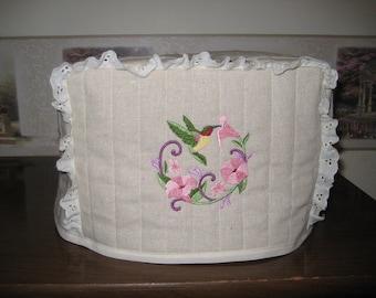 4 Slice Square Toaster Cover Embroidered Hummingbird Wreath Design
