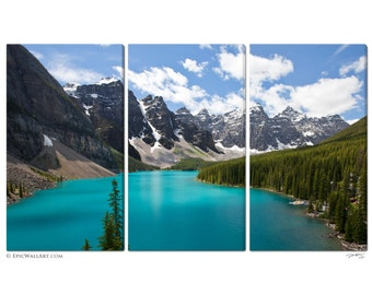 Moraine Lake: Triptych 3-Piece Fine Art Canvas Wall Display- 3 Thick Gallery Wrapped Canvas Prints