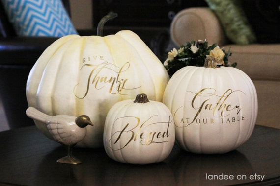 Thanksgiving words for Pumpkins & plates - set of 3 - vinyl only!