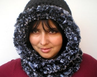 Charcoal Eskimo Chunky Hood Hand Crocheted Hoded Cowl Woman Fashion Hoodie Hooded Scarf Cowl NEW