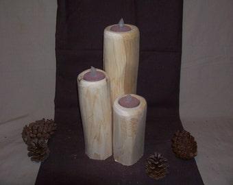 Set of 3 tea light holders/ Rustic Cedar Tea Light Candle Holder/ wedding decor/ candle holders/ cabin decor/