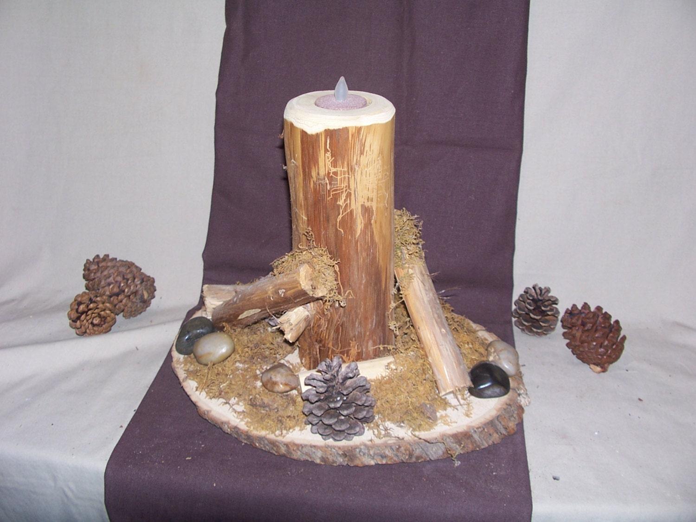 Rustic cedar log tea light candle holder rustic wedding for Log candle holder how to make