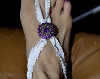 Adult barefoot sandals with jewel accent
