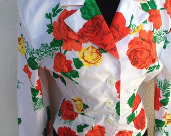 Vintage 1980 floral flowers rose white jacket cotton sz s NWT padded shoulders
