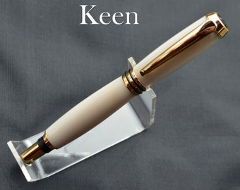 do - Keen Handcrafted Handmade White Mother of Pearl Gemstone Tycoon 24kt Gold Pen