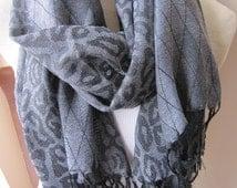 Grey black leopard pashmina shawl scarf, women's scarf,hijab-long scarf Man fashion-mad-viscose mens scarf Turkey 2014 trends-Nurdanceyiz
