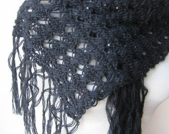 Women's knit scarves-Sparkle scarf - Sequin solid BLACK long scarf-woman fashion knit wraps shawl scarf /evening gown- women's scarves