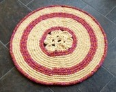 Blossom-Round rug Handmade crocheted thick soft rug Place mat bathroom Sun room Terrace Room mat, light yellow pink, Eco-friendly Home decor
