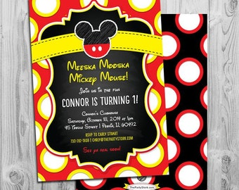 Mickey Mouse Invites, Mickey Mouse Invitation, 1st Birthday Invites, First Birthday Invitation Boy, Mickey Invitation, Red Yellow Oh Toodles