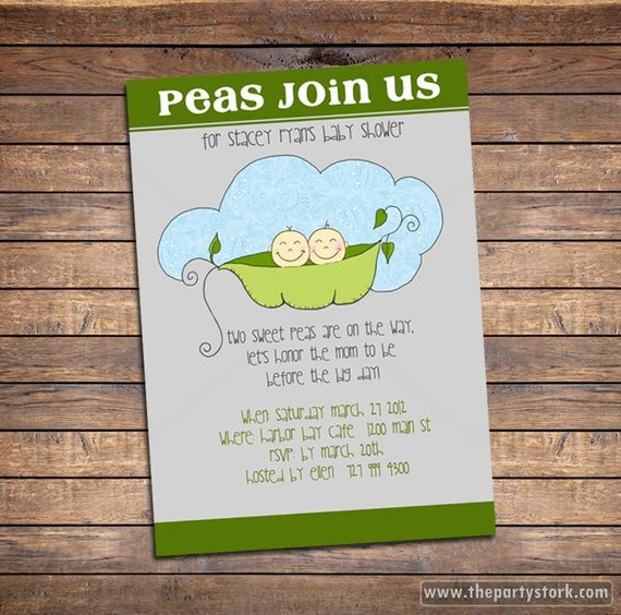twin baby shower invitation printable two peas in a pod, Baby shower