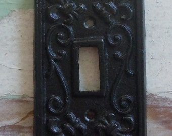 Cast Iron Fleur de Lis Cover for Light Switch /BLACK  / Decorative Outlet Cover /  Shabby Chic / Coastal