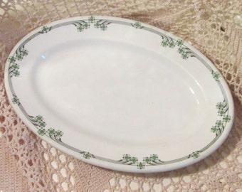Vintage Shenango China Green Floral Restaurant Ware Platter