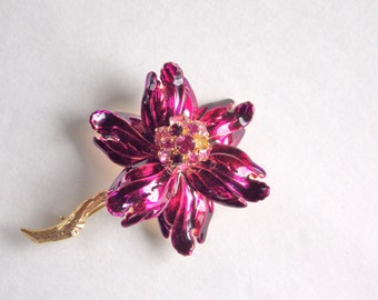 Enamel and rhinestone brooch, signed Weiss, fuchsia flower pin, estate piece, pink and gold tone brooch, magenta brooch, signed jewelry