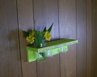 Wood Coat Hanger Hooks with Shelf and Flower Vase