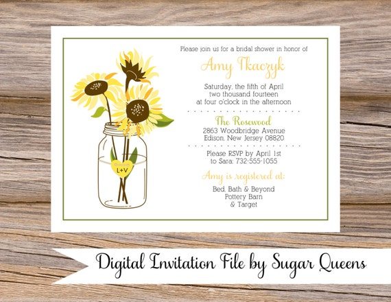 mason jar sunflowers bridal shower invitations diy printable png file custom yellow rustic country chic