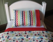 """18"""" doll sized blanket / pillow / pillowcase set - Red and blue flowers"""